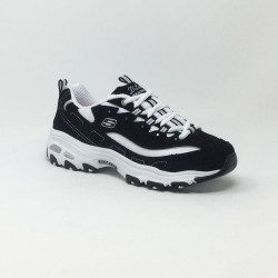 SKECHERS D'LITES BIGGEST FAN NOIR/BLANC