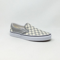VAN'S SLIP-ON CHECKERBOARD SILVER/BLANC