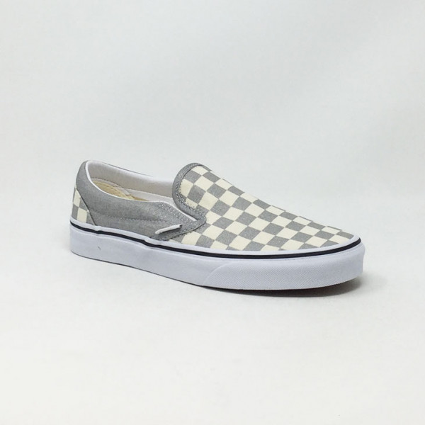 VAN'S SLIP-ON CHECKERBOARD SILVER/BLANC