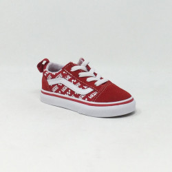 VAN'S OLD SKOOL ELASTIC LACE ROUGE/BLANC