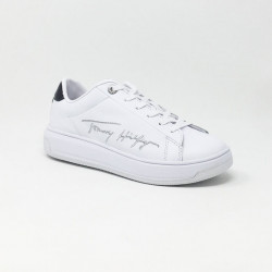 TOMMY LEATHER CUPSOLE BLANC